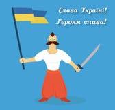 Glory to Ukraine! Glory to heroes. Cossack with ukrainian flag and saber Stock Photos