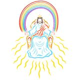 Gloryfikujący Jezus daje ludziom Nadziemskiemu światłu, Nadziemski królewiątko ilustracji