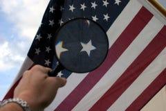 glose американского флага вверх стоковое изображение rf