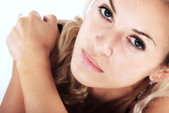 Glose-up portrait of a beautiful blond woman Stock Photos