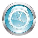 Gloss Button with Clock Royalty Free Stock Image