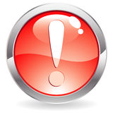 Gloss Button with exclamation point Royalty Free Stock Photography