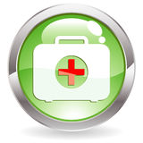 Gloss Button with First aid kit. Three Dimensional circle button with First aid kit icon,  illustration Stock Photo