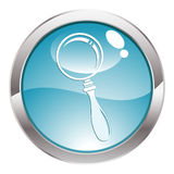 Gloss Button with magnifier Stock Image