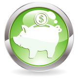 Gloss Button with piggy bank Stock Photos