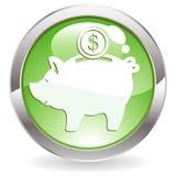 Gloss Button with piggy bank Stock Photos
