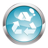 Gloss Button with Recycling Symbol Stock Images
