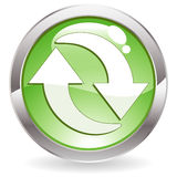 Gloss Button with Recycling Symbol Royalty Free Stock Image