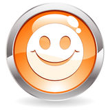 Gloss Button with smile Royalty Free Stock Image