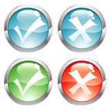 Gloss Buttons With Ticks Royalty Free Stock Image