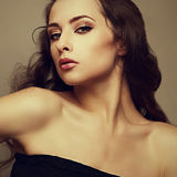 Gloss closeup portrait of beautiful sexy bright makeup woman Stock Photo