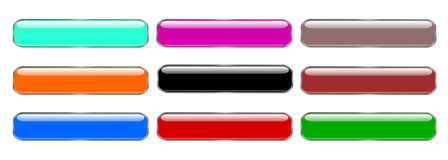 Gloss rectangles. Illustration of rectangle buttons. Glassy rectangles Stock Photography