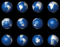 Glossy 3D Globes on Black (Vector) stock image