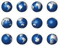 Glossy 3D Globes on White (Vector) Stock Photos
