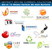 Glossy 3D set of design Elements Stock Images