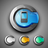 Glossy 3D web 2.0 mobile symbol icon set. Royalty Free Stock Photography