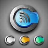 Glossy 3D web 2.0 rss feed symbol icon set. Stock Photos