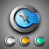 Glossy 3D web 2.0 thumbtack symbol icon set. Stock Photography