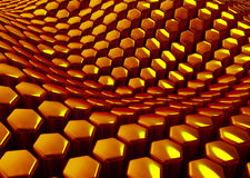 Glossy abstract golden background from hexagons. 3D render Stock Photos