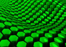 Glossy abstract green background from hexagons. 3D render Royalty Free Stock Photos