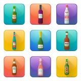 Glossy alcohol bottles icons set Royalty Free Stock Image