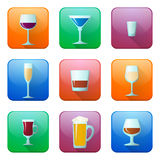 Glossy alcohol glasses icons set Royalty Free Stock Images