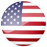 Glossy American flag button. A round glossy web button with the design of the American flag isolated on white stock illustration