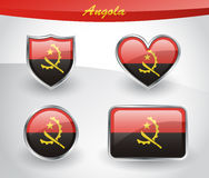 Glossy Angola flag icon set Stock Photography