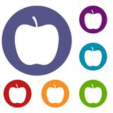 Glossy apple icons set. In flat circle red, blue and green color for web Royalty Free Stock Images