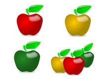 Glossy apple illustration collage Royalty Free Stock Photo