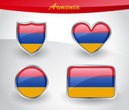 Glossy Armenia flag icon set Stock Images