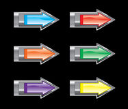 Glossy arrow icon set Royalty Free Stock Photography