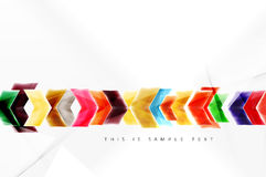 Glossy arrow wallpaper. Color geometric shapes - glass realistic style. Vector web brochure, internet flyer with copyspace vector illustration