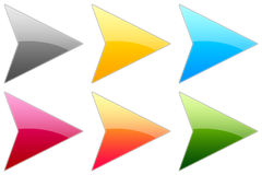 Glossy Arrows. Set of glossy colorful arrows Stock Photography