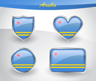 Glossy Aruba flag icon set Stock Photography