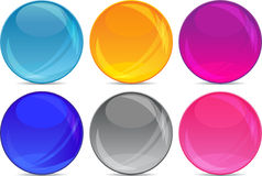 Glossy ball backgrounds for icons in vector. A collection of 6 colorful glossy spheres ( web icons Royalty Free Stock Photo