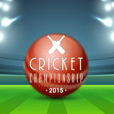 Glossy ball for Cricket. Glossy red ball with text Cricket Championship 2015 on stadium lights background Stock Photos
