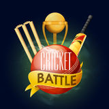 Glossy Ball with other equipments for Cricket Battle. Royalty Free Stock Photography