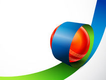 Glossy Ball in stripe for Cricket Sports concept. Royalty Free Stock Photo