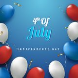 Glossy balloons on blue background, concept for 4th of July, Ame. Rican Independence Day celebration Royalty Free Stock Photo