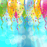 Glossy balloons on a blue bubbles background. Multicolored glossy balloons on a blue bubbles background Royalty Free Stock Image
