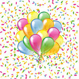 Glossy balloons on a colorful confetti background Royalty Free Stock Image