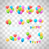 Glossy balloons set on transparent background. Vector glossy balloons set isolated on transparent background for party invitations decoration Royalty Free Stock Images