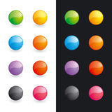 Glossy balls (buttons). Set of differently coloured glossy balls Royalty Free Stock Image