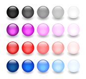 Glossy balls collection. Glossy balls illustration set over white background Stock Photos