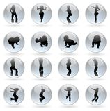 Glossy balls with human silhouettes Royalty Free Stock Photography