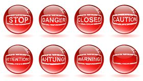Glossy balls with warning signs Royalty Free Stock Photo