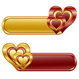 glossy banners with Hearts. Stock Photo