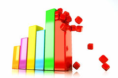 Glossy Bar Graph. 3d image of colorful glossy bar graph against white background Royalty Free Stock Photo
