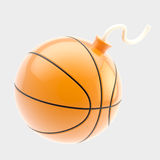 Glossy basketball ball as a bomb isolated Royalty Free Stock Photos